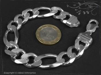 Figaro Panzerkette Armband B13.0L22 massiv 925 Sterling Silber