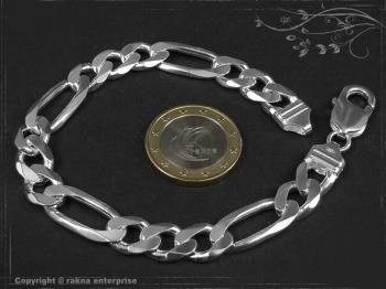Figaro Panzerkette Armband B9.0L22 massiv 925 Sterling Silber