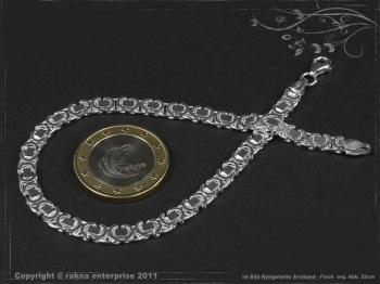 Königskette Armband Flach B4.6L22 massiv 925 Sterling Silber