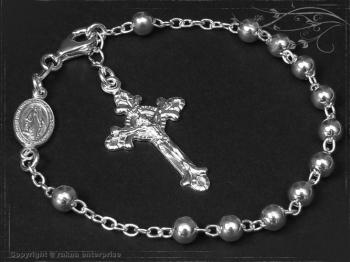 Rosenkranz Armband Design-Kugel-L23 massiv 925 Sterling Silber