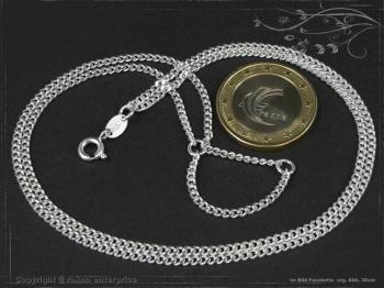 Fußkette Panzerkette Zweireihig B2.2L26 massiv 925 Sterling Silber