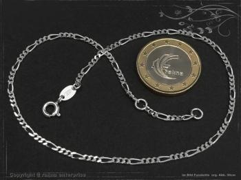 Fußkette Figarokette B2.2L25 massiv 925 Sterling Silber