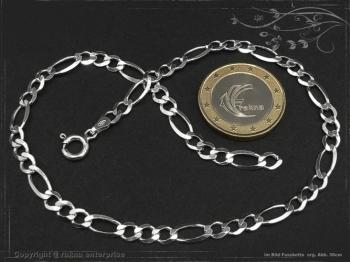 Fußkette Figarokette B4.5L25 massiv 925 Sterling Silber