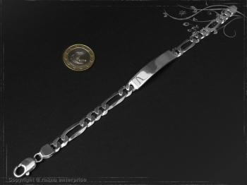 ID Figaroarmband Gravur-Platte B8.0L22 massiv Keramik - Edelstahl