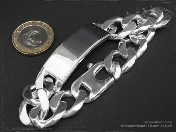 ID Panzerarmband Gravur-Platte B15.0L21 massiv 925 Sterling Silber