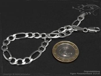 Figaro Panzerkette Armband B6.5L25 massiv 925 Sterling Silber