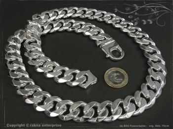 Panzerkette Extra Breit B19.0L100 massiv 925 Sterling Silber