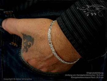 Königskette Armband Flach B4.6L19 massiv 925 Sterling Silber